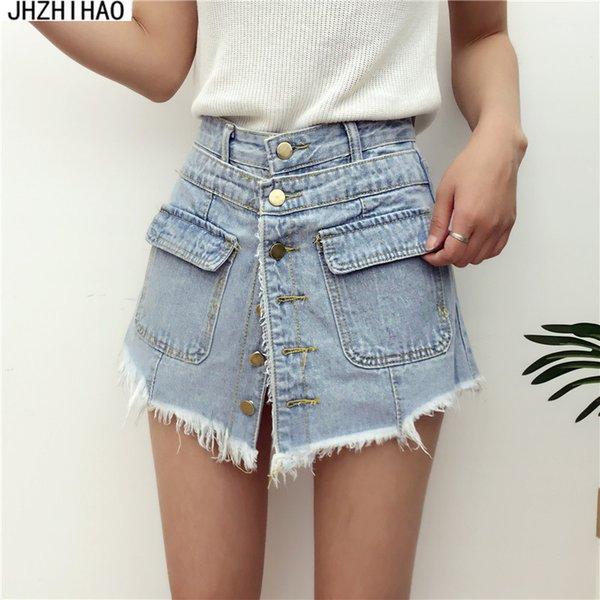 Compre Señoras De La Alta Calidad De La Venta De Cintura Alta Pantalones Cortos De Mezclilla De Las Mujeres Del Verano Faldas Cortos Delgado Azul