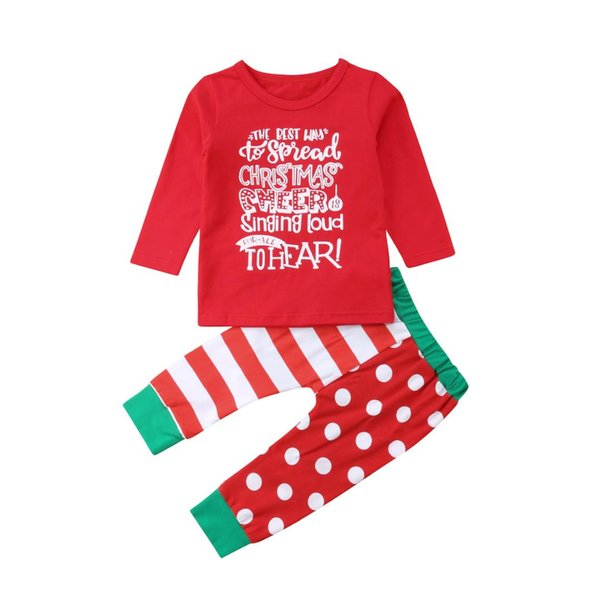 Infant Toddler Kids Baby Girls Christmas Clothes Long Sleeve T shirt Tops Pants Home wear Pajamas Outfit Set