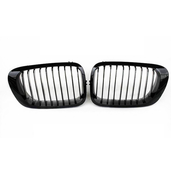 best selling 1 Pair Glossy matte Black 1-Slat Front Kidney Grilles For 3 Series E46 2 Door 1998-2001 ABS Racing grille