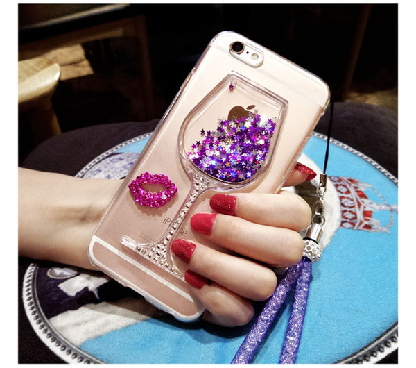 Apple 7 Hand Shell New Pattern Silica Gel 5s Luxurious Rhinestone Wine Glass Originality Quicksand Iphone6plus Hand Shell 4s