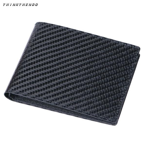 THINKTHENDO Fashion Men's Bifold RFID Blocking Carbon Fiber Short Wallet Multifunction ID Card Case Holder Coin Money Purse New #160232