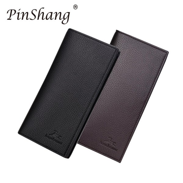 Men Wallet Pu Leather Long Clutch Business Wallets Cowhide Bifold Purse Slim Fashion Male Wallets Multifunction Money Clip Zk45