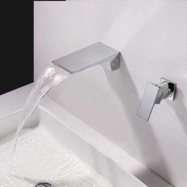 Grifo de lavabo moderno Mezclador de agua fría y caliente Grifo de una sola manija Doble orificio Montado en la pared Grifo del lavabo Cascada