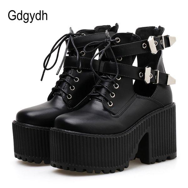 Gdgydh Bloc Talons Cheville Bottes Pour Femmes Plateforme Chaussures Punk Chaussures Mode Boucle Semelle En Caoutchouc À Bout Carré Cheville Strap Noir