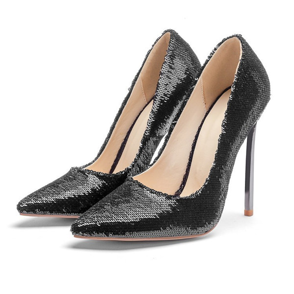 Fashion2019 Fashion Latest Sharp Shallow Mouth Fine With Women's Singles Shoe Golden High-heeled Shoes
