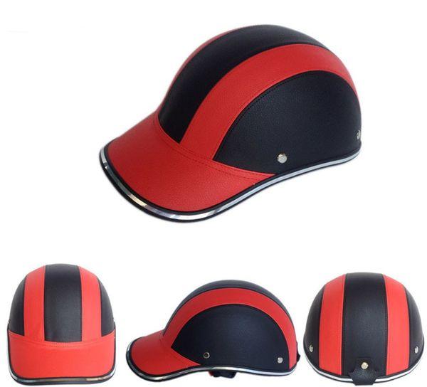 Unisex Motocicleta Metade do Rosto Capacete Da Bicicleta Capacete de Ciclismo casco Protetora ABS Boné de Beisebol em Couro gorras de beisbol