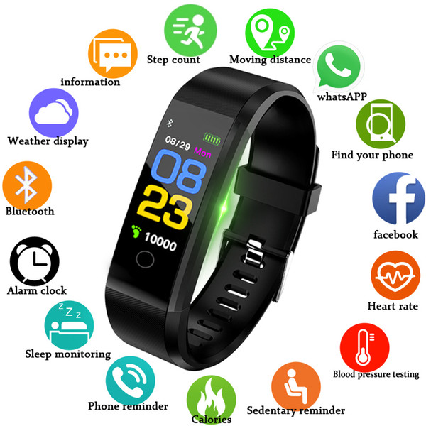 BANGWEI Band Heart Rate Blood Pressure Pedometer Sports Wristband Smart Fitness Watch Men Women For IOS Android C19010301
