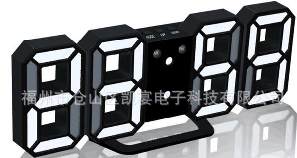 Creativo 3D gran pantalla LED reloj de pared de la pared silenciosa brillo reloj de ajuste de la inducción de escritorio de repetición 132