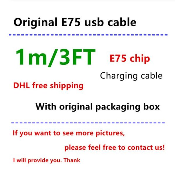 100% Genuine Original 1m/3ft E75 5IC Chip OD: 3.0mm Data USB charger Cable for Foxconn with packaging