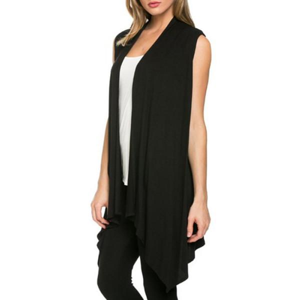 Fashion-Women Summer Sleeveless Jacket Soft Outerwear Cardigan Long Top Coat Waistcoat
