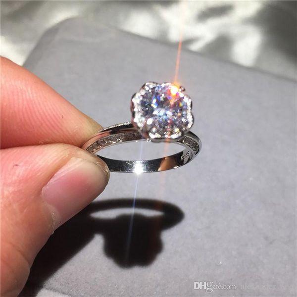 2018 nova moda clássico soild 925 anel de casamento de prata esterlina SONA jóias com diamantes marca de noivado anéis para mulheres presente