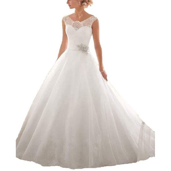 2019 Lace Appliques Vestido De Novia Wedding Dresses Turkey A Line Beck Sweep Train Wedding Dress Bridal Dresses Robe De Mariage