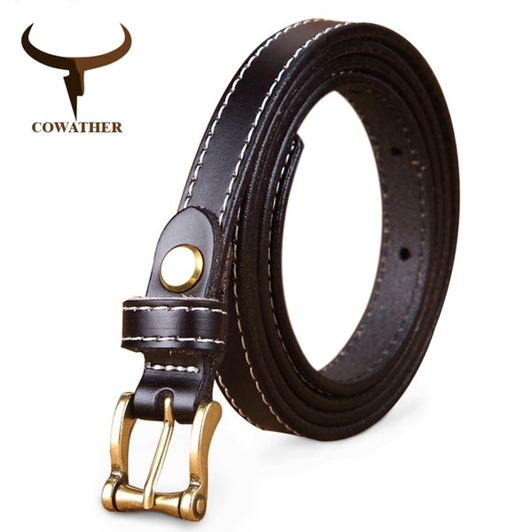 COWATHER Hot Sale good quality women belt cow genuine leather female waist strap top pin buckle fashion waistband original brand