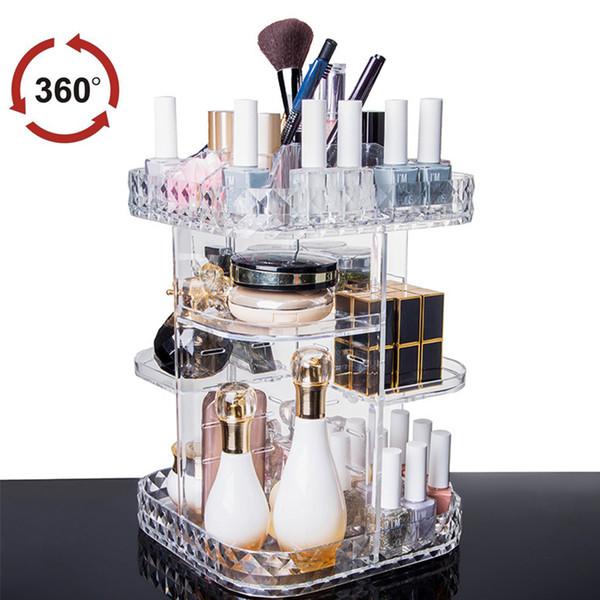 Fashion Brands Transparent Acrylic 360-degree Rotating Makeup Organizer Case DIY Detachable Cosmetics Jewelry Storage