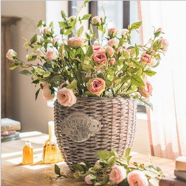 artificiale finto decorazione floreale casa matrimonio tabella decor mazzi aspetto reale seta rosa Fiori decorativi Home Decor nozze