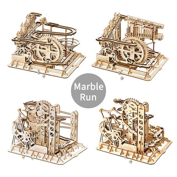 Boy Jouets en bois Race Marble Run Maze balles piste bricolage Coaster Puzzle en bois modèle 3D Kits de construction Jouets Cadeaux de Noël 07
