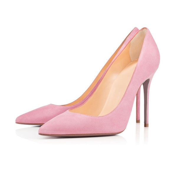 De punta estrecha gamuza rosa