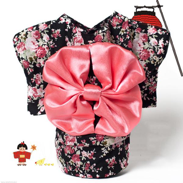 Pet Clothing Dog Dress Clothes Floral Japanese Kimono Bow Tie Shirt Costume Princess Dress Vestido Pet