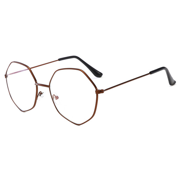 Men and women computer glasses frame hexagonal glasses frame anti-blue lens anti-UV anti-blue glasses mobile phone computer TV protection