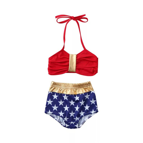 Designer America Flag Designing Two-piece Girls Swimming Clothing Suits Sleeveless Belt Stripes Red Bow Girls Swimming 2pcs Bikini Outfits