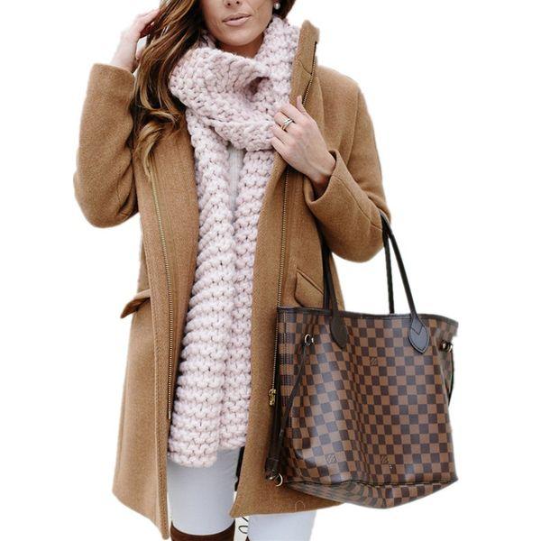 Mode-Winter-warme Kamel Wollmantel Weiblich Mid-Long New Korean Temperament Frauen Popular Oberbekleidung aus Wolle Zipper rosa Mantel