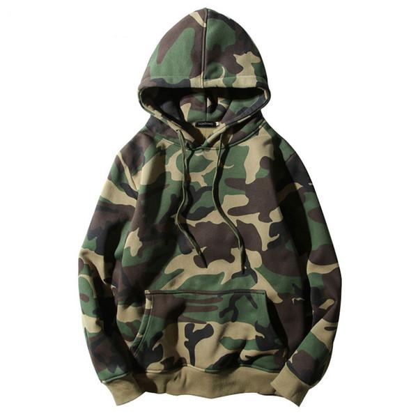 Exército camuflagem verde Hoodies de Inverno Mens Camo velo capuz moletom com capuz de Hip Hop Ganhos Cotton Streetwear S-2XL