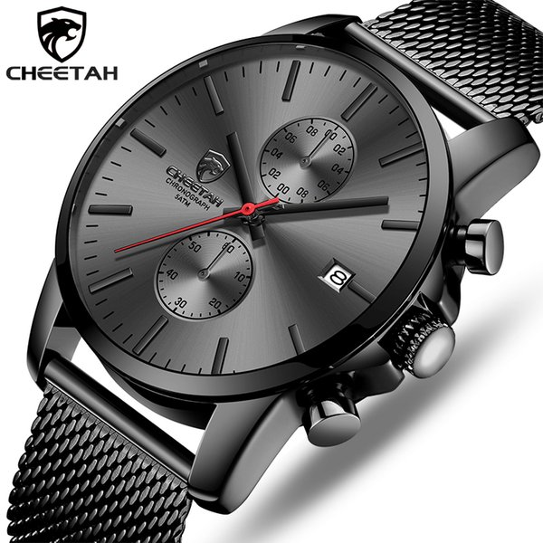 CHEETAH Марка Мужские часы Мода Бизнес кварцевые наручные часы из нержавеющей стали Mesh хронограф Мужской Часы Дата Relogio