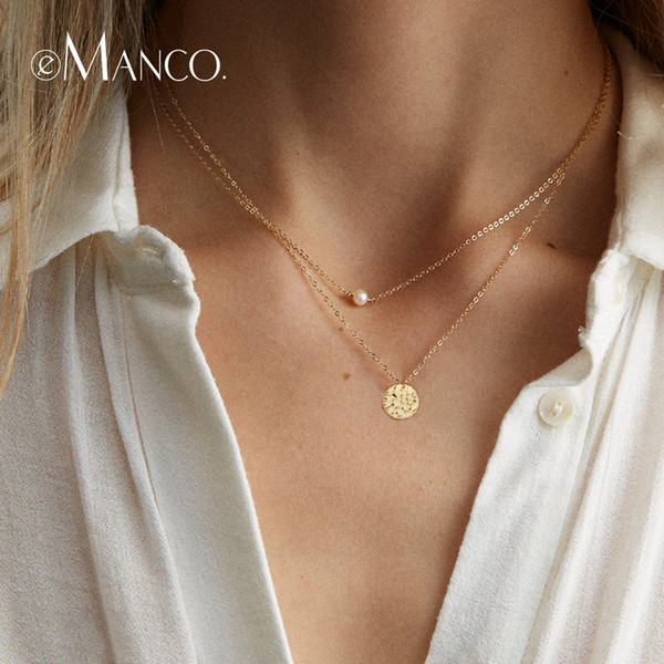 e-Manco Two Layers Pendants Necklaces For Women 925 Sterling Silver Choker Necklace Simulated Pearl Round Charm fine Jewelry