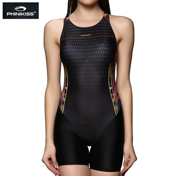 PHINIKISS Noir Plus Size Maillots de bain femmes genou maillot de bain amincissant-ÉPAULES Professionnel longue Athletic bain rembourré
