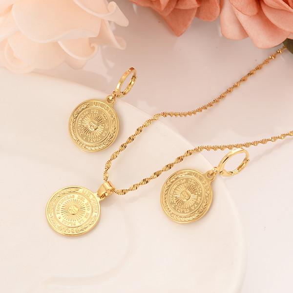 Dubai Hindistan Afrika altın madalyon güneş madalyon barış kolye düğün kişilik sahip olması gereken küpe, kolye, takı hediye hediyelik eşya