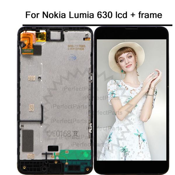 Para Nokia Lumia 630 N630 RM-976 RM-977 RM-978 RM-979 Asamblea de pantalla digitalizador de pantalla táctil con marco Ypf27-130