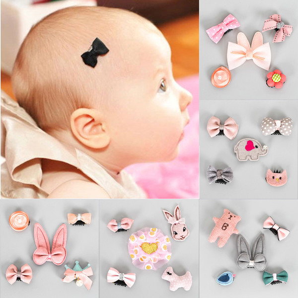 Kid Toddler Hair Star Mini Flower 5Pcs//set Bow Clips Hairpins Barrettes Baby