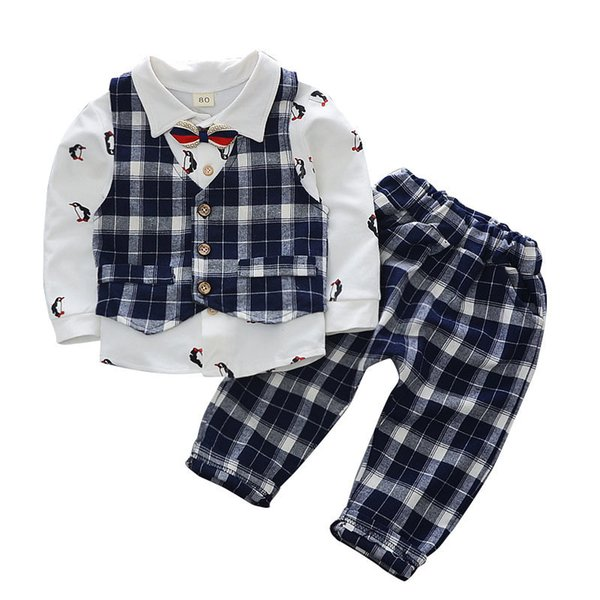 Children Vest Shrit Pants And Tie 4Pcs Sets Kids Formal Clothes Toddler Tracksuits Spring Autumn Cotton Baby Boys Clothing Suits
