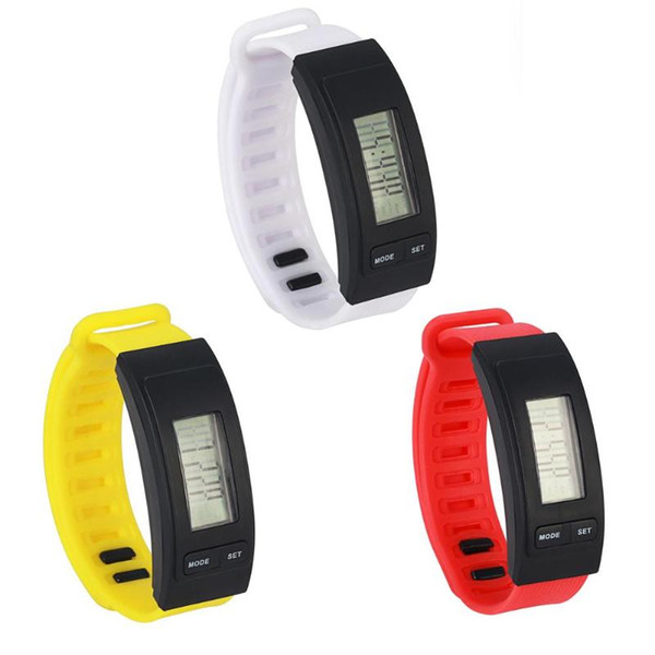 LED Pedometer Watches Student Unisex Electronic Watch Sports Simple Flexible Durable Currency Silicone Band Wristwatch