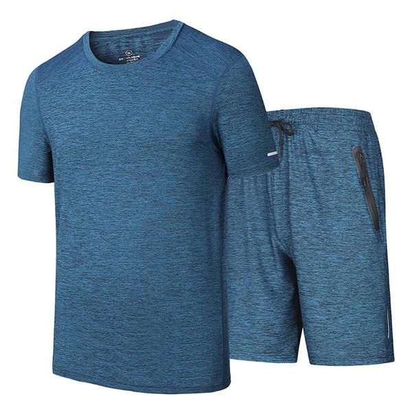 Мужчины наборы T-Shirt + шорты мужского КОСТЮМ Повседневного Быстросохнущей Спортивная марка мужской мода 2 Piece Set Plus 8XL 7XL Tracksuit