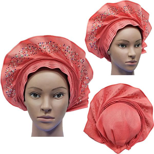 best selling 2019 New Design African Aso Oke Auto Gele with Colorful Beautiful Stones and Beads Women Headrap for Party and Wedding