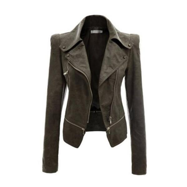 Fashion- Leather Jacket Zipper Jacket Turn-down Collar Full Sleeve Slim Jackets Ladies Autumn Winter Outside Wear Coats