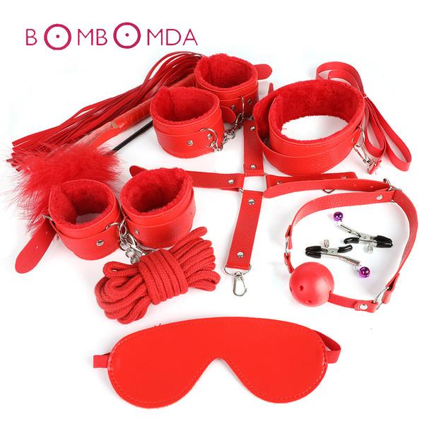 Взрослые SM Игрушка секс 10 шт / комплект игра Кожа Садо-мазо Бандаж Секс наборы Набор для рук Кнут веревочной маски Фетиша Restraints для женщин Пара Y191203