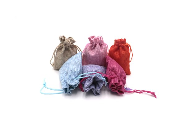 13*18cm Mixed Color Jute Bag Burlap Drawstring Jewelry Packaging Pouches Wedding Party Candy Gift Package Supplies
