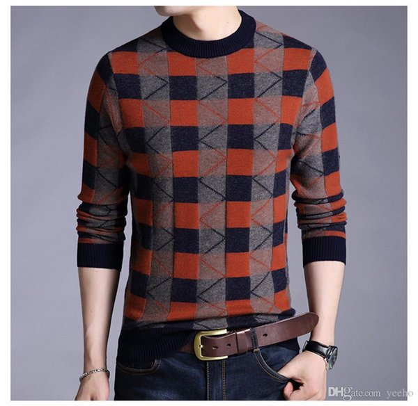 new men's sweaters 100% wool sweater autumn winter leisure men's wear tight long-sleeved top man ZH-027