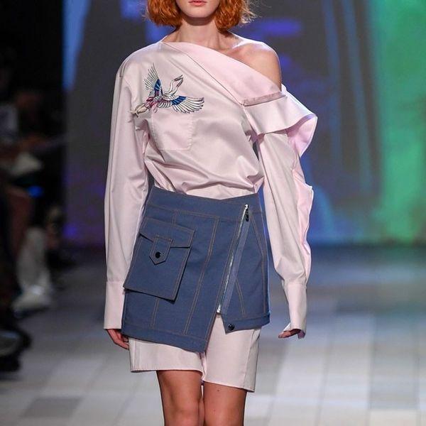 Falda de dos piezas para mujeres bordado fuera del hombro volantes mini vestido con cintura alta faldas de cremallera irregulares