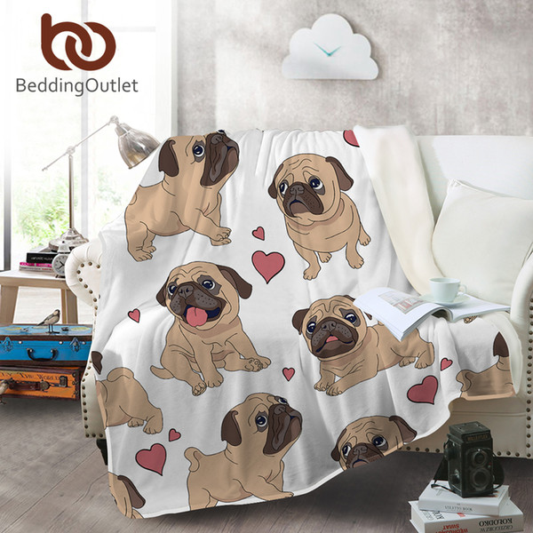 BeddingOutlet Hippie Pug Flannel Blanket Animal Cartoon Coral Fleece Blanket for Kids Beds Sofa Throws Bulldog Coverlet 150x200