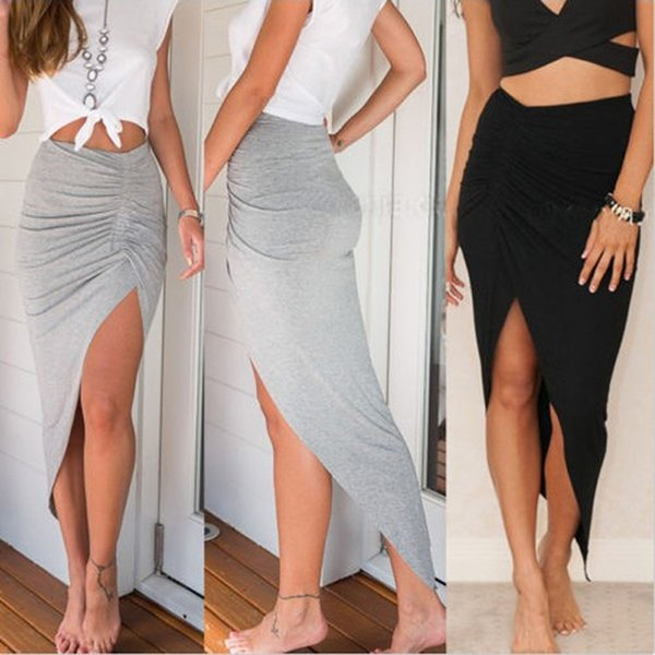 2018 New Sexy Lado das Mulheres de Alta Divisão Magro Irregular Saias Projeto Shirring Senhoras Plissadas Skinny Slit Maxi Longo Lápis Saia