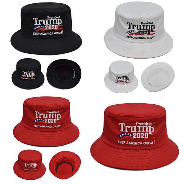 Trump 2020 Şapka Kapaklar Işlemeli Kova Şapka Amerika Büyük Başkan Trump Tutun Açık Seyahat Erkek Kadın Yaz Güneş Şapka C71103
