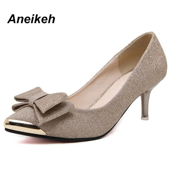 Designer Dress Shoes Aneikeh Women Pumps High Heels 2019 bowknot Pointed Stiletto Work Sexy Sequins Shoe Zapatos Mujer Black Gold Silver
