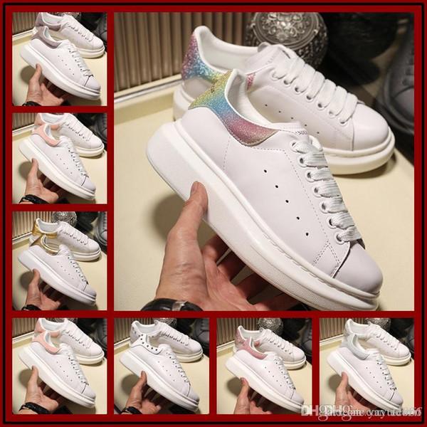 Designer di marca economici 3M in pelle nera bianca riflettente Scarpe casual rosse dorate per ragazza donna uomo sneakers piatte rosse donna rosa 36-44