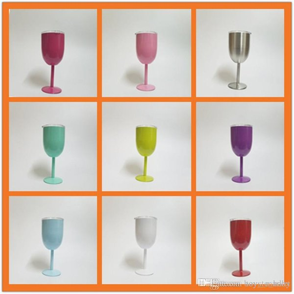 Fashion 10oz Stainless Steel Wine Glass 9 Colors Double Wall Insulated Metal Goblet With Lid Tumbler Red Wine Mugs Beer Mug