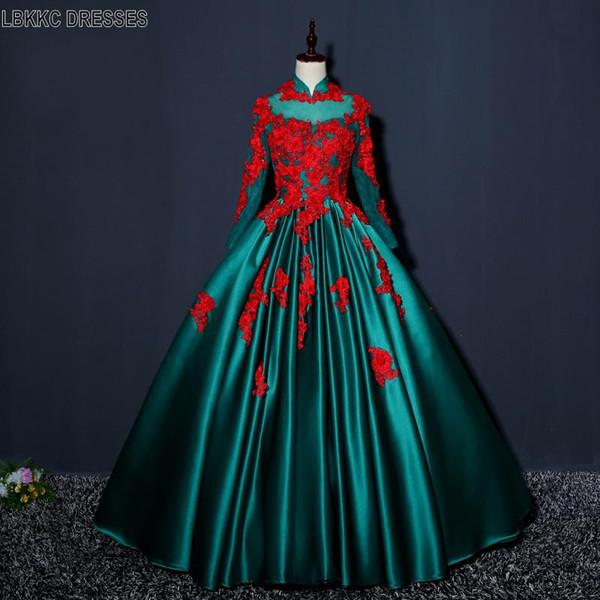 Зеленые атласные аппликации Красные кружевные платья для выпускного вечера с длинными рукавами 2019 года Вечерние длинные платья для подростков Выпускной вечер Quinceanera