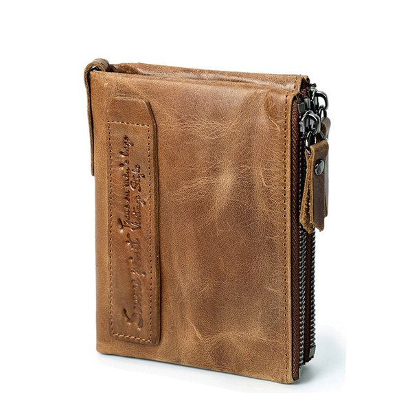 Genuine Leather Wallet Men Brand Crazy Horse Leather Women Purse Men Short Wallet Card Holder Ladies Purse Cartera Mujer