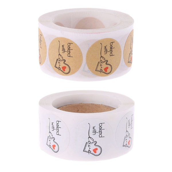 500Pcs Baked With Love Round Kraft Paper Sticker Adhesive Baking Label For Christmas Festival Cake Box Gift